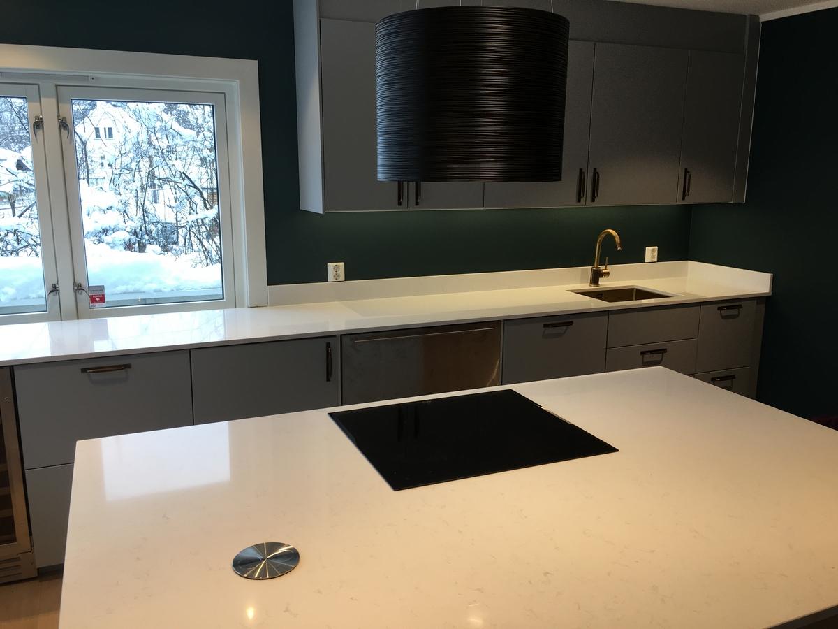 kunststen bordplade og køkkenø